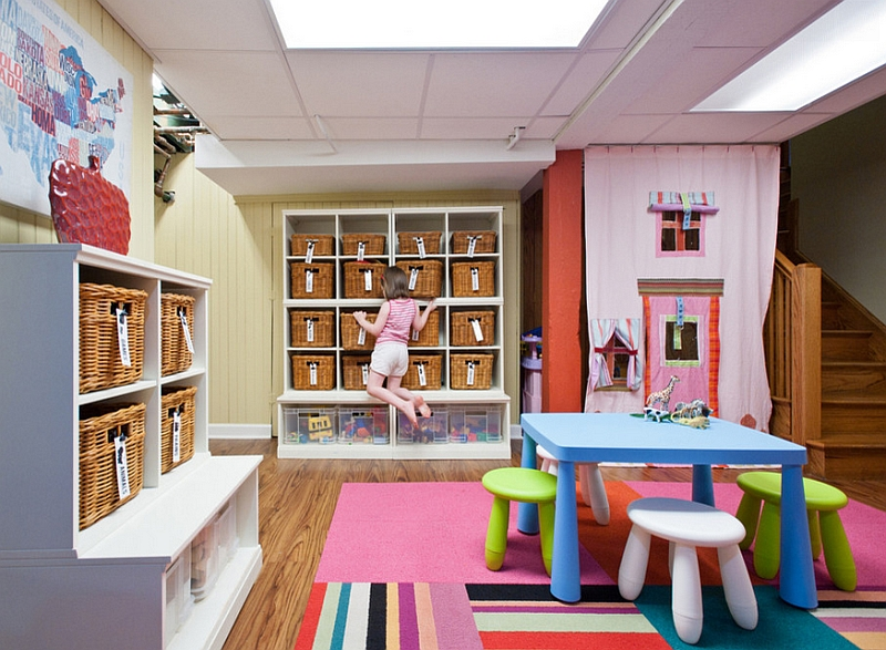 Best basement playroom ideas basement finish pros for Ample storage space